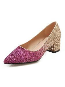 Zapatos de fiesta con purpurina Bombas de tacón grueso con punta puntiaguda para mujer