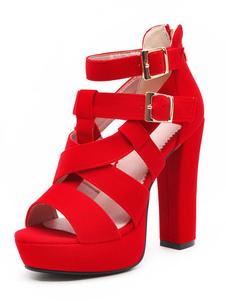 Сандалии на высоком каблуке Красная пряжка с открытой платформой Подробнее Сандалии с ремешками для женщин