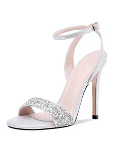 Sapatos De Baile 2020 De Prata Sandálias De Salto Alto Das Mulheres Sandálias De Tira No Tornozelo Aberto Das Mulheres