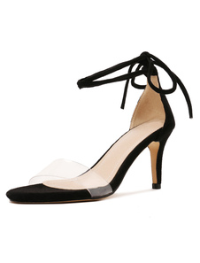 Sandalias negras para mujeres 2020 Tacón alto Punta abierta Lace Zapatos de sandalia