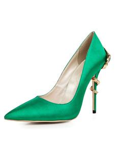 Атласные вечерние туфли женские остроконечные металлические детали туфли на высоком каблуке