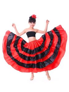 Disfraz Carnaval Paso Doble Traje de baile Niños Falda Flamenca Chicas Rojo Dos Tonos Corridas de toros españoles Rendimiento Partes de abajo Halloween Carnaval