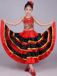 Flamenco Saia Meninas Paso Doble Dança Traje Crianças Dividir Espanhol Traje De Touradas Halloween