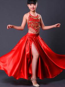 Meninas Flamenco Saia Paso Doble Traje de Dança Crianças Red Split Espanhola Traje de Touradas Halloween