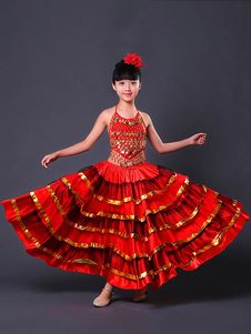 Disfraz Carnaval Paso Doble Traje de Baile 2020 Falda Flamenca de Niñas Trajes taurinos españoles Halloween Carnaval