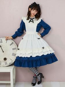 Lolita Estilo Maiden OP Vestido Arco Ruffle Lolita Azul Vestido De Uma Peça Com Avental