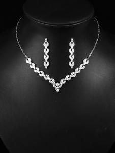 Набор свадебных украшений Серьги Колье Серебряные свадебные аксессуары