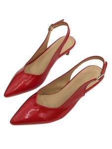 Kitten Heel Pumps Slingbacks con punta en punta roja Slip On Pumps para mujeres