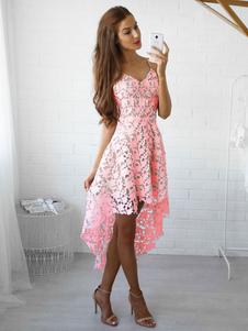 Женское кружевное платье High Low Summer Dress Платья без рукавов