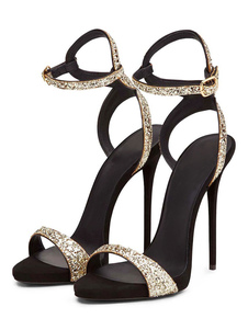 Glitter Prom Shoes Women Open Toe Sandali con tacco alto Scarpe da sera dorate