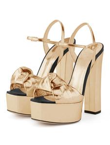 Scarpe da sera dorate Scarpe da sera con tacco alto Sandali da donna con plateau e plateau