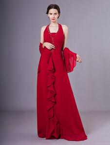 2 peças vermelha Halter Wrap Chiffon mãe de cetim de vestido de noiva