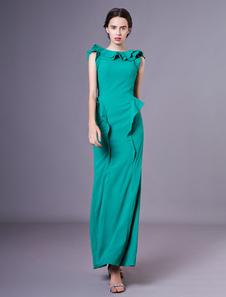 Sereia verde em cascata plissado vestido para mãe da noiva com bateau pescoço Milanoo