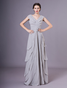 Mãe cinza do vestido da noiva V Neck A linha Chiffon Wedding Guest Dress