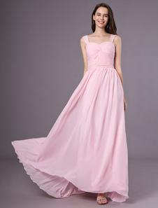 Vestido de dama de honra de vestido de chiffon até o chão rosa querida