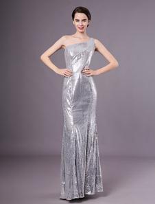 Moda prata sereia lantejoulas de um ombro mulheres \ \ 's vestido de noite