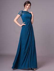 Marinha escuro A linha Chiffon mangas curtas mãe do vestido da noiva com bijuterias pescoço Milanoo