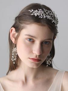 أقراط الزفاف الفضة حجر الراين كريستال مجوهرات الزفاف
