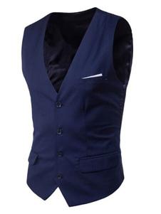 Синий костюм жилет плюс размер V-образным вырезом карман кнопки мужской жилет