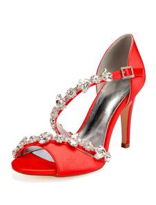 Scarpe da sposa in raso Sandali da sposa con tacco alto e cinturino