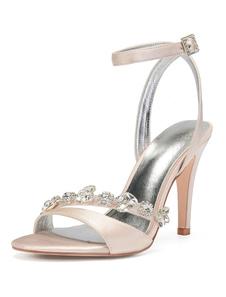 Sapatos De Casamento Champanhe Abrir Toe Strass Tornozelo Strap Sapatos De Dama De Honra