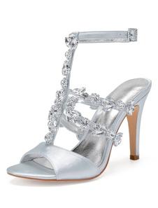 Scarpe da sposa in raso argento Peep Toe strass T tipo con tacco alto sandali con tacco alto