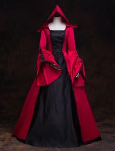 Disfraz Carnaval Traje retro Vestido victoriano Mujeres con capucha rojas Vestidos de baile de disfraces Royal Vintage disfraces de Halloween Carnaval