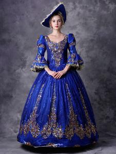 Disfraz Carnaval Vestido victoriano Traje retro Mujeres azules disfraces de baile de disfraces barrocos Royal Vintage disfraces de Halloween Carnaval