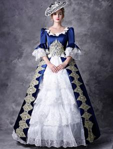 プリンセス 女性用 貴族ドレス 中世 ドレス ブルー 五分袖 ポリエステル マルディグラ ドレス ロイヤル 中世 ドレス・貴族ドレス ヨーロッパ 宮廷風 レトロ
