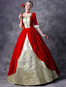 Disfraz Carnaval Vestido retro victoriano traje rojo mujer barroco mascarada vestidos de bola Royal Vintage disfraces de Halloween Carnaval