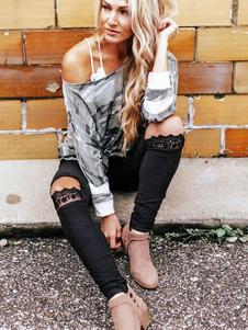 Leggings negros de encaje para mujer Cintura elástica Leggings pitillo