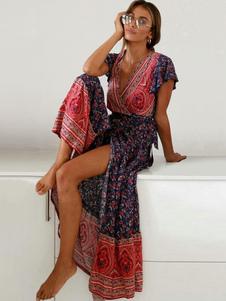 فستان ماكسي Boho عام2020 فستان زهري طباعة الصيف انقسام قصيرة الأكمام الخامس الرقبة اللباس التفاف