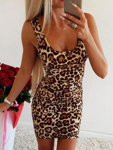 Vestido sin mangas con estampado de leopardo Vestido ajustado con cuello en U Vestidos atractivos para mujeres