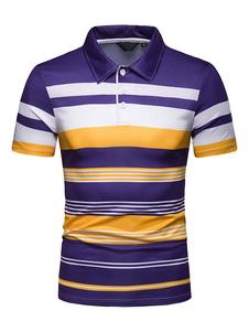 Roxo Camisa Polo Stripe Color Block Homens de Manga Curta Casual Camiseta