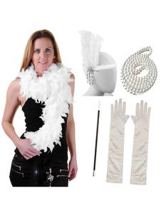 Grandes accesorios de Gatsby Diadema de aleta retro 1920 Plumas de moda Collar de perlas Guantes de pipa de tabaco Set Halloween