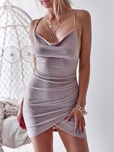 Сексуальное облегающее платье без рукавов с рюшами и мини-платьем без спинки