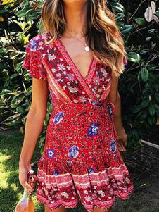 Vestido De Verão 2020 Floral Vermelho Decote Em V Manga Curta Moldar Vestido Mini
