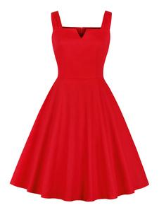 Vestido vintage vermelho sem mangas bolsos vestido de verão plissado