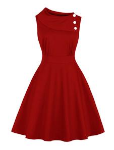 Vestiti Anni 50 monocolore Abiti donna smanicato abiti anni 50 Cocktail Abito Rosso  bottoni in pelle con scollo tondo cotone Estate vintage