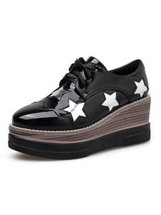Zapatillas de deporte de cuña con plataforma y cordones de oxfords negras para mujer