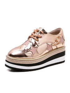 Zapatillas de mujer con plataforma Zapatillas redondas doradas con punta redonda y con cordones Calzados informales