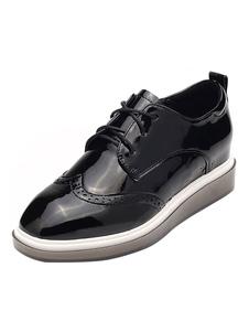 Zapatillas de deporte negras de las zapatillas de deporte del dedo del pie de las mujeres negras Zapatos ocasionales de Oxford