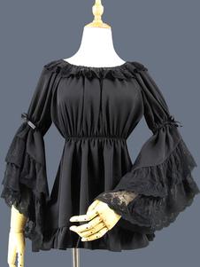 Classico Lolita Blouse Lace Layered Ruffle Bowknot Hime Sleeve Chiffon nero Lolita Top