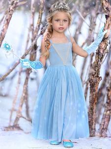 فساتين البنات إلسا الأزرق أطفال الأميرة الأشرطة حزب اللباس
