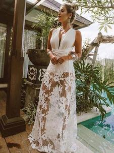Maxi Pagliaccetto Abito da Donna 2020 Bianco Immergente Vestito da Spiaggia Sexy Senza Schienale