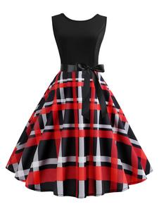 Vestido vintage preto 1950 retro vestido sem mangas em volta do pescoço arcos vestido de balanço xadrez