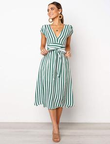 Vestido de verano a rayas 2020 Plunging Cap Sleeve Tie Waist Vestido largo
