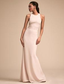 Vestiti Lunghi Bianco  Abiti Lunghi di poliestere monocolore smanicato modellante Vestiti Lunghi Eleganti a girocollo Abiti Abbigliamento  Donna