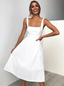 Vestido largo de verano sin mangas correas vestido ocasional sólido