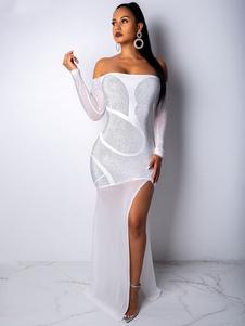 Vestido atractivo del club Rhinestones de manga larga del vestido maxi del hombro